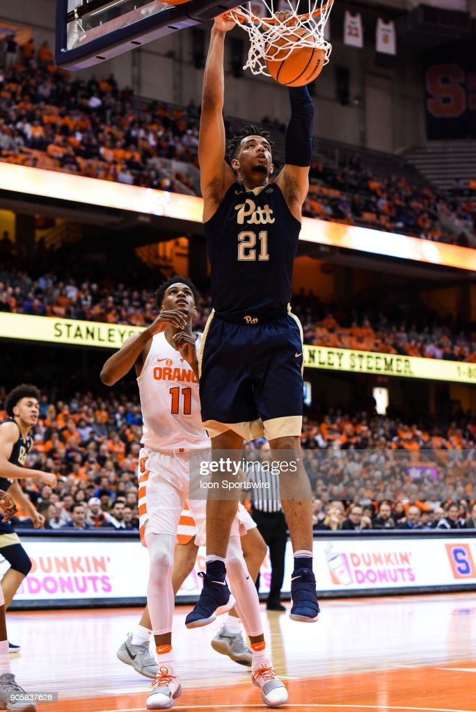 Terrell Brown #21 of the Pittsburgh Panthers dunks the ball during the first half of play between the Syracuse Orange and the Pittsburgh Panthers on January 16th, 2018 at the Carrier Dome in Syracuse, NY.