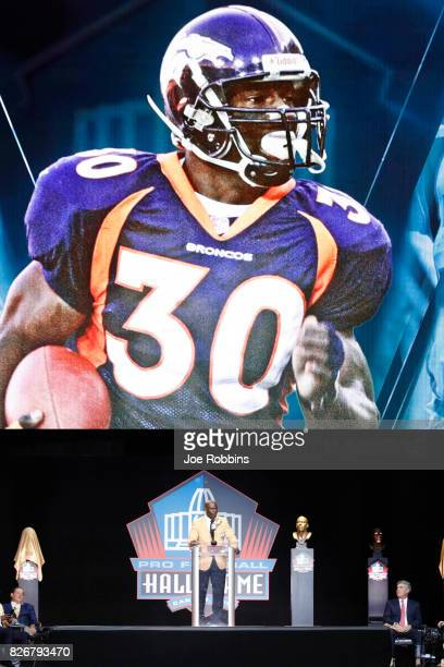 Terrell Davis speaks during the Pro Football Hall of Fame Enshrinement Ceremony at Tom Benson Hall of Fame Stadium on August 5 2017 in Canton Ohio