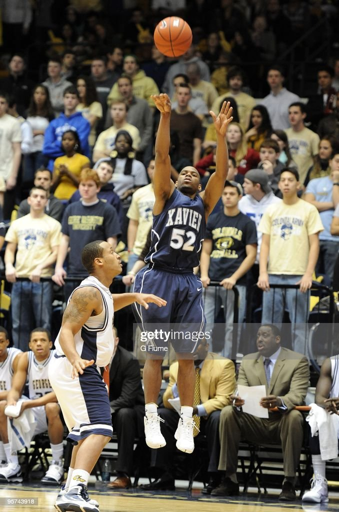 Terrell Holloway of the Xavier Musketeers shoots a jump shot against the George Washington Colonials on January 10 2010 at the Smith Center in...