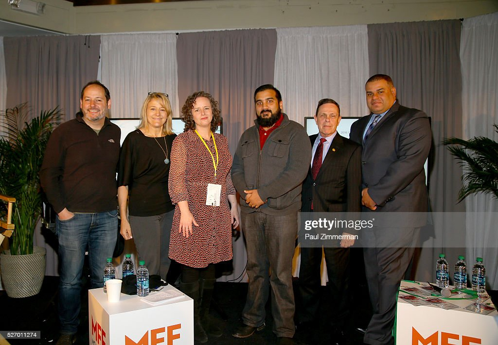 Terrell McCain, Karen Sacks, Marcy Felsenfeld, Lloyd Deans, J. Michael Armstrong and Avneech Arora attend the Montclair Film Festival 2016 - Day 3 Conversations at the Audible Lounge on May 1, 2016 in Montclair, New Jersey.
