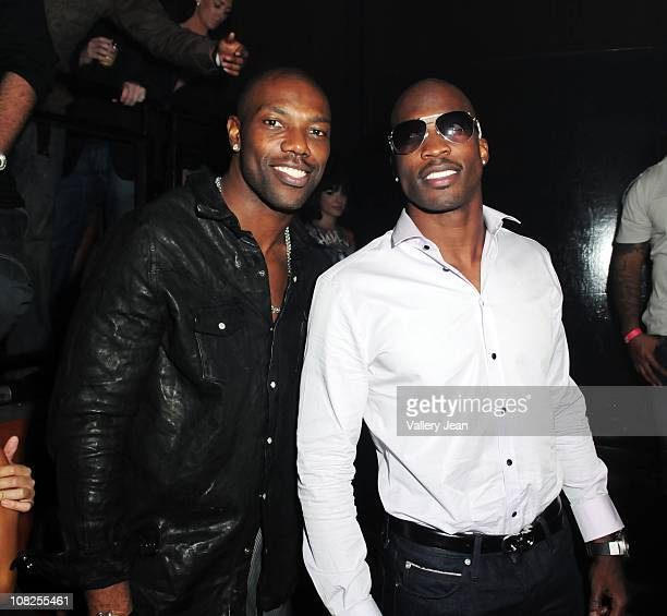 Terrell Owens and Chad Ochocinco attend Chad Ochocinco's Birthday Party at Mansion nightclub on January 20 2011 in Miami Beach Florida