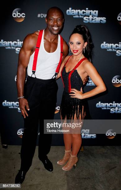 Terrell Owens and Cheryl Burke attend 'Dancing With The Stars' season 25 taping at CBS Televison City on September 26 2017 in Los Angeles California