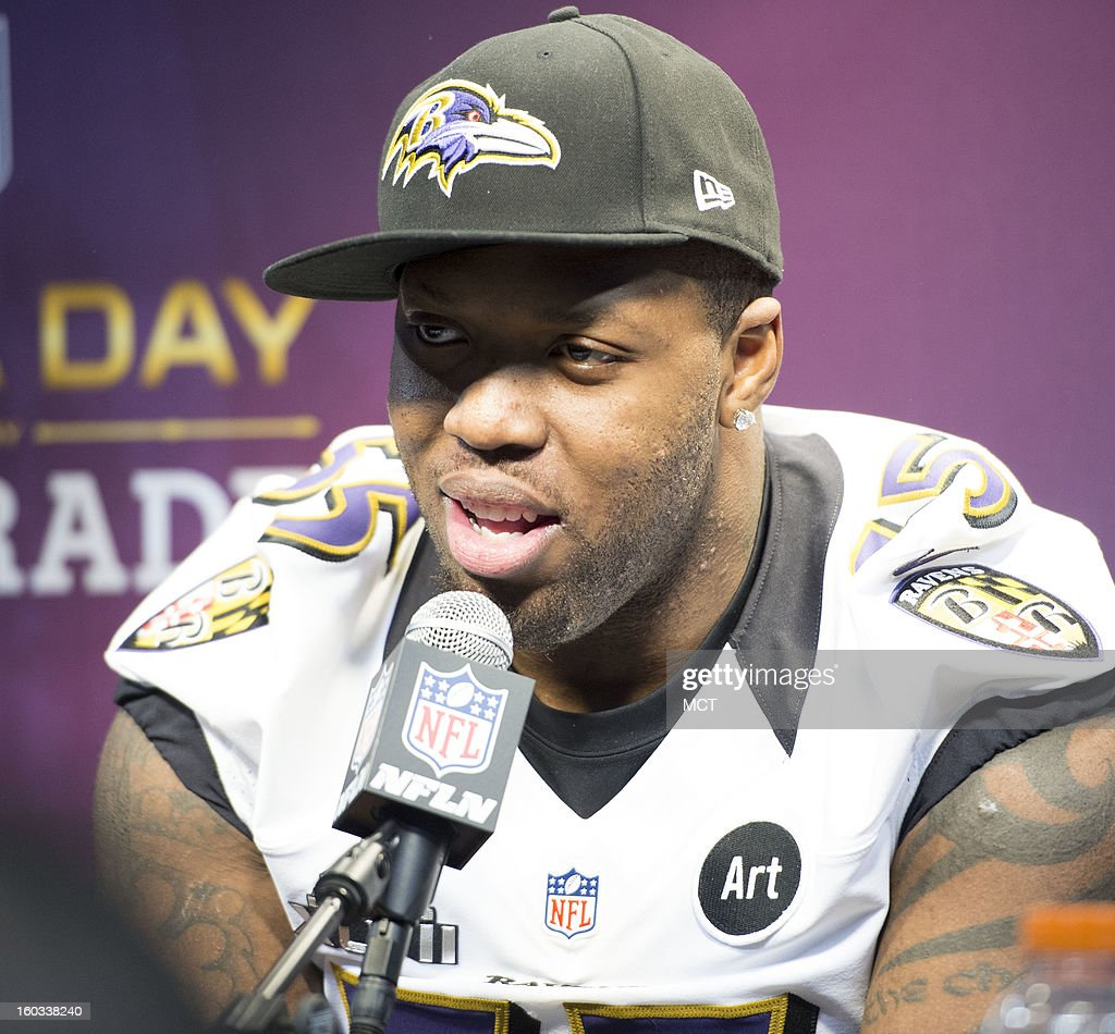 Terrell Suggs of the Baltimore Ravens answers questions during Super Bowl Media Day on Tuesday, January 29, 2013, in New Orleans, Louisiana.