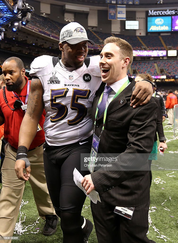 Terrell Suggs #55 of the Baltimore Ravens celebrates as he walks off of the field after they won 34-31 against the San Francisco 49ers during Super Bowl XLVII at the Mercedes-Benz Superdome on February 3, 2013 in New Orleans, Louisiana.