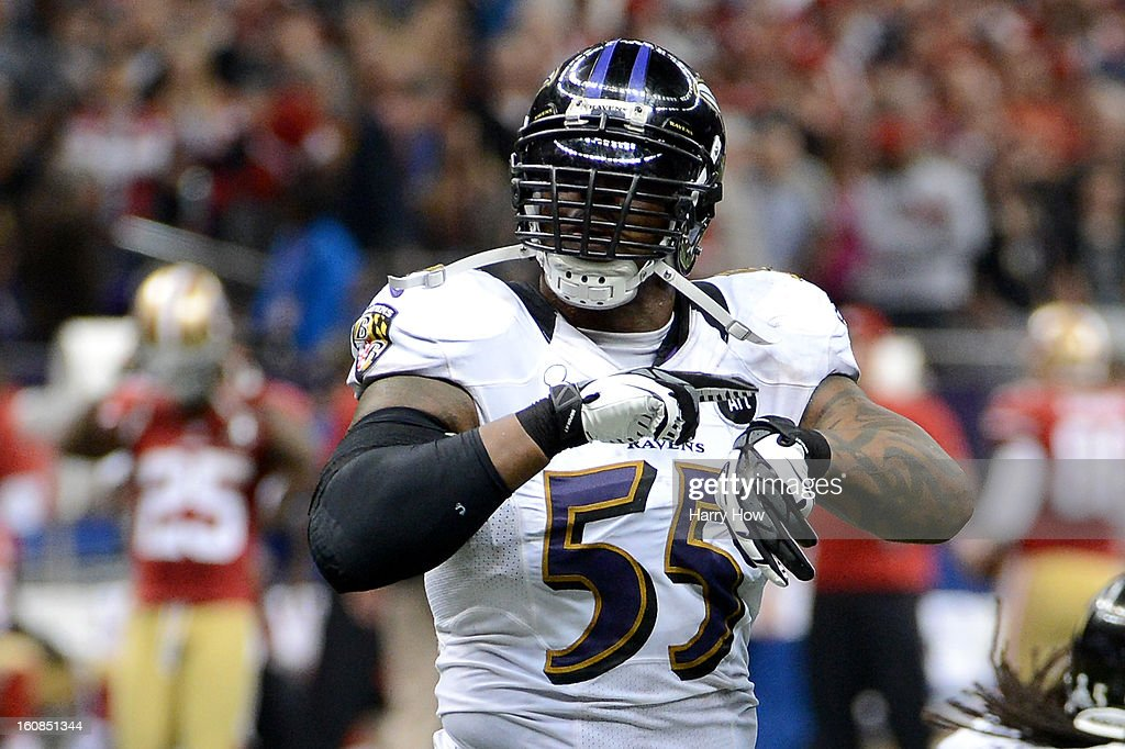Terrell Suggs #55 of the Baltimore Ravens gestures 'What time is it?!?' against the San Francisco 49ers during Super Bowl XLVII at the Mercedes-Benz Superdome on February 3, 2013 in New Orleans, Louisiana.