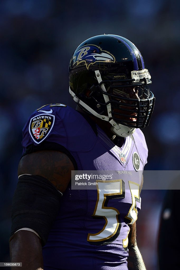 Terrell Suggs #55 of the Baltimore Ravens looks on as he warms up against the Indianapolis Colts during the AFC Wild Card Playoff Game at M&T Bank Stadium on January 6, 2013 in Baltimore, Maryland.