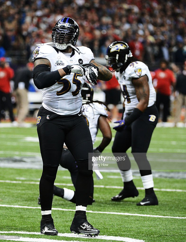 Terrell Suggs #55 of the Baltimore Ravens reacts after the San Francisco 49ers couldn't convert a fourth down play to turn the ball over in the final two minutes of the fourth quarter during Super Bowl XLVII at the Mercedes-Benz Superdome on February 3, 2013 in New Orleans, Louisiana.
