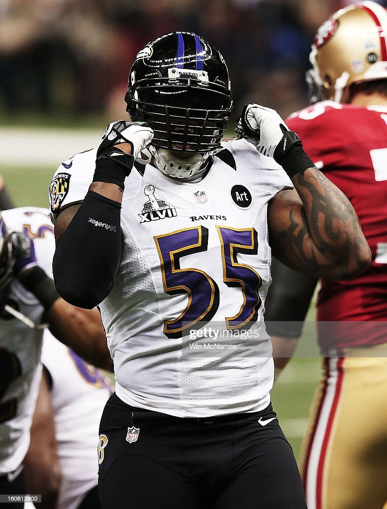 Terrell Suggs #55 of the Baltimore Ravens reacts in the first quarter against the San Francisco 49ers during Super Bowl XLVII at the Mercedes-Benz Superdome on February 3, 2013 in New Orleans, Louisiana.