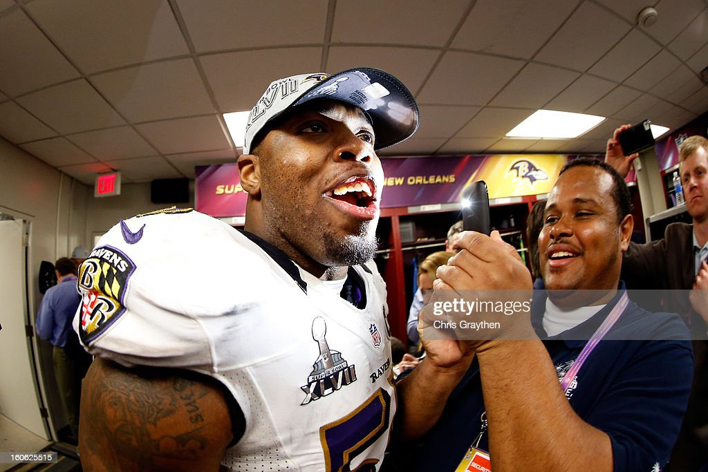 Terrell Suggs #55 of the Baltimore Ravens talks to reporters in the locker room following their 34-31 win against the San Francisco 49ers during Super Bowl XLVII at the Mercedes-Benz Superdome on February 3, 2013 in New Orleans, Louisiana.