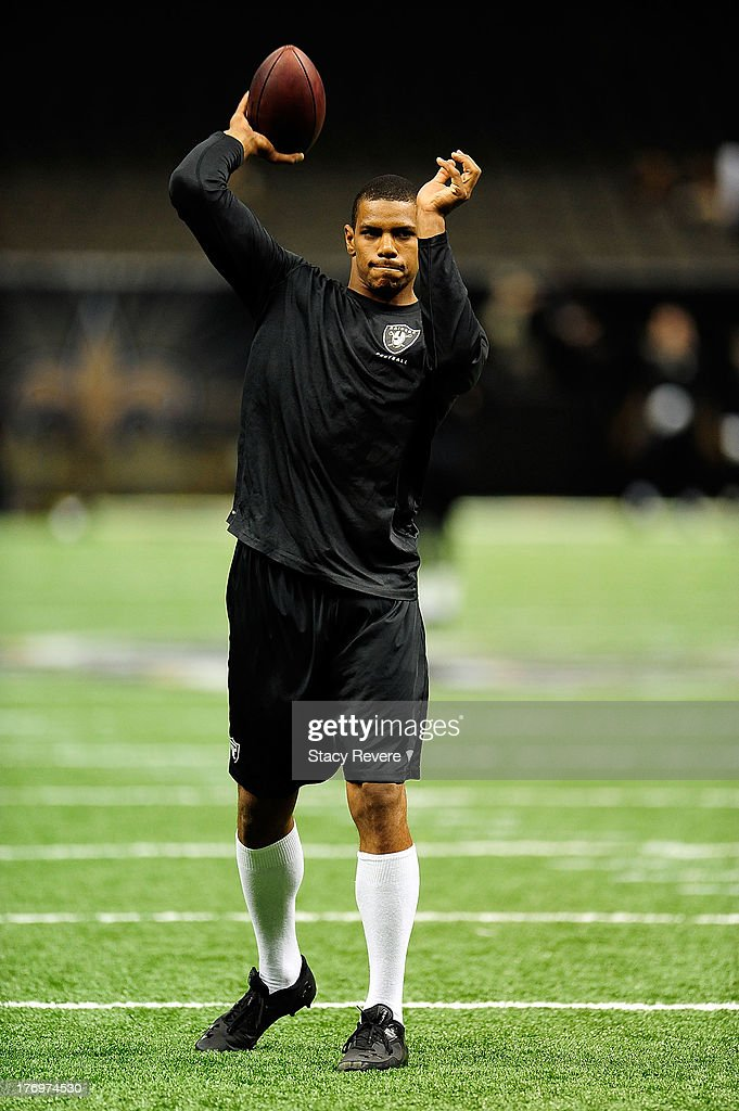 Terrelle Pryor #6 of the Oakland Raiders goes through warm ups prior to a preseason game at the Mercedes-Benz Superdome on August 16, 2013 in New Orleans, Louisiana. The Saints won 28-20.