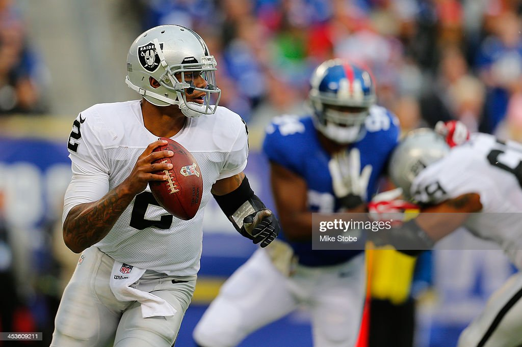 <a gi-track='captionPersonalityLinkClicked' href=/galleries/search?phrase=Terrelle+Pryor&family=editorial&specificpeople=4420918 ng-click='$event.stopPropagation()'>Terrelle Pryor</a> #2 of the Oakland Raiders in action against the New York Giants at MetLife Stadium on November 10, 2013 in East Rutherford, New Jersey. Giants defeated the Vikings 24-20.