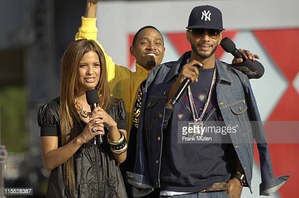 Terrence and Rocsi from BET's 106 Park and rapper Swizz Beatz attend the 106 Park preshow before the BET Hip Hop Awards 2007 at the Atlanta Civic...