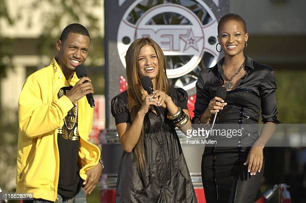 Terrence and Rocsi from BET's 106 Park and singer Ciara attend the 106 Park preshow before the BET Hip Hop Awards 2007 at the Atlanta Civic Center on...
