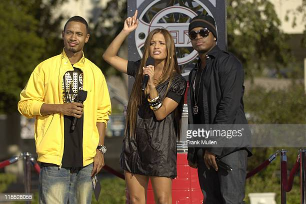 Terrence and Rocsi from BET's 106 Park and singer NeYo attend the 106 Park preshow before the BET Hip Hop Awards 2007 at the Atlanta Civic Center on...