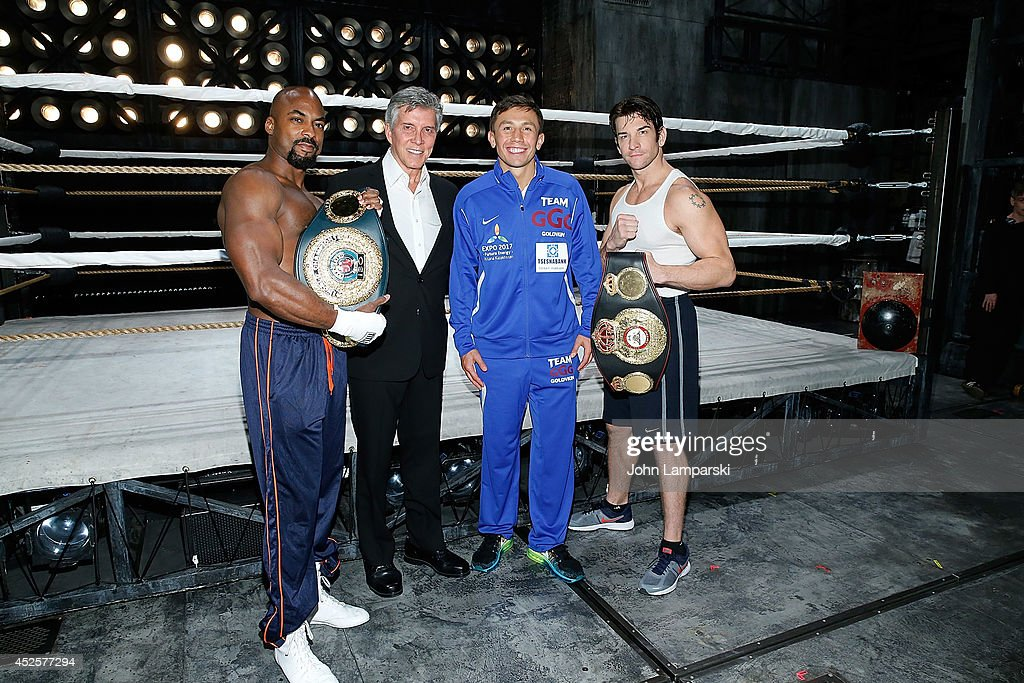 Terrence Archie, announcer <a gi-track='captionPersonalityLinkClicked' href=/galleries/search?phrase=Michael+Buffer&family=editorial&specificpeople=224006 ng-click='$event.stopPropagation()'>Michael Buffer</a>, World Middleweight Champion <a gi-track='captionPersonalityLinkClicked' href=/galleries/search?phrase=Gennady+Golovkin&family=editorial&specificpeople=10619206 ng-click='$event.stopPropagation()'>Gennady Golovkin</a> and <a gi-track='captionPersonalityLinkClicked' href=/galleries/search?phrase=Andy+Karl&family=editorial&specificpeople=2312238 ng-click='$event.stopPropagation()'>Andy Karl</a> attend <a gi-track='captionPersonalityLinkClicked' href=/galleries/search?phrase=Gennady+Golovkin&family=editorial&specificpeople=10619206 ng-click='$event.stopPropagation()'>Gennady Golovkin</a> & <a gi-track='captionPersonalityLinkClicked' href=/galleries/search?phrase=Michael+Buffer&family=editorial&specificpeople=224006 ng-click='$event.stopPropagation()'>Michael Buffer</a> Broadway Debut In 'Rocky' at the Winter Garden Theatre on July 23, 2014 in New York City.
