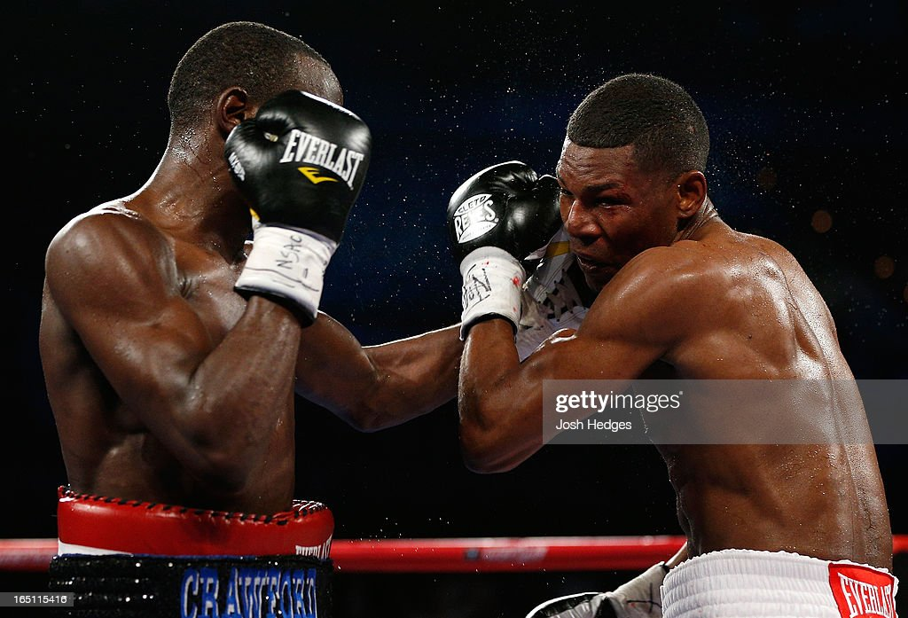 <a gi-track='captionPersonalityLinkClicked' href=/galleries/search?phrase=Terrence+Crawford+-+Basketball+Player&family=editorial&specificpeople=2476305 ng-click='$event.stopPropagation()'>Terrence Crawford</a> lands a left to the head of Bredis Prescott in their junior welterweight bout at the Mandalay Bay Events Center on March 30, 2013 in Las Vegas, Nevada.