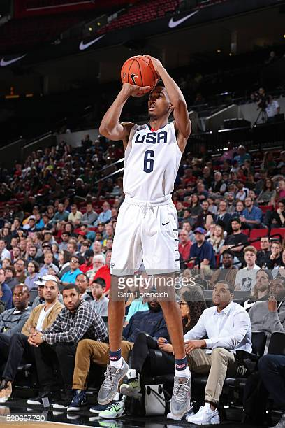 Terrence Ferguson of the USA Junior Select Team shoots the ball against the World Select Team during the 2016 Nike Hoop Summit on April 9 2016 at the...