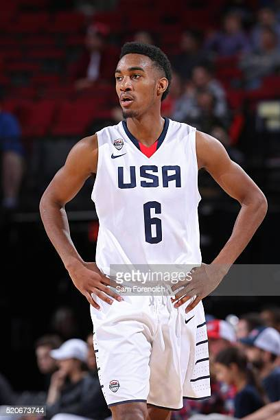 Terrence Ferguson of the USA Junior Select Team walks up court against the World Select Team during the game on April 9 2016 at the MODA Center Arena...