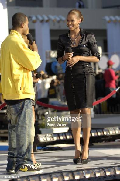 Terrence from BET's 106 Park and singer Ciara attend the 106 Park preshow before the BET Hip Hop Awards 2007 at the Atlanta Civic Center on October...