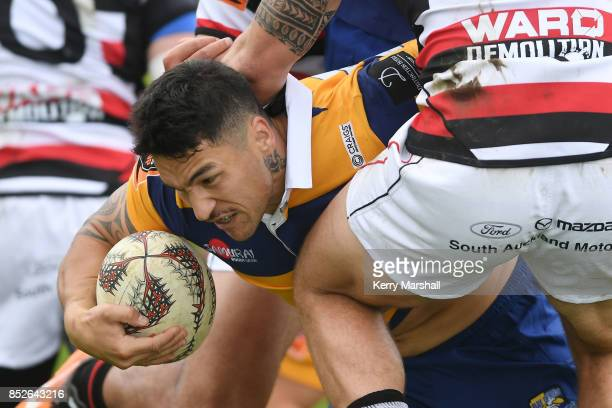 Terrence Hepetema of Bay of Plenty reaches out to score a try during the round six Mitre 10 Cup match between Bay of Plenty and Counties Manukau...