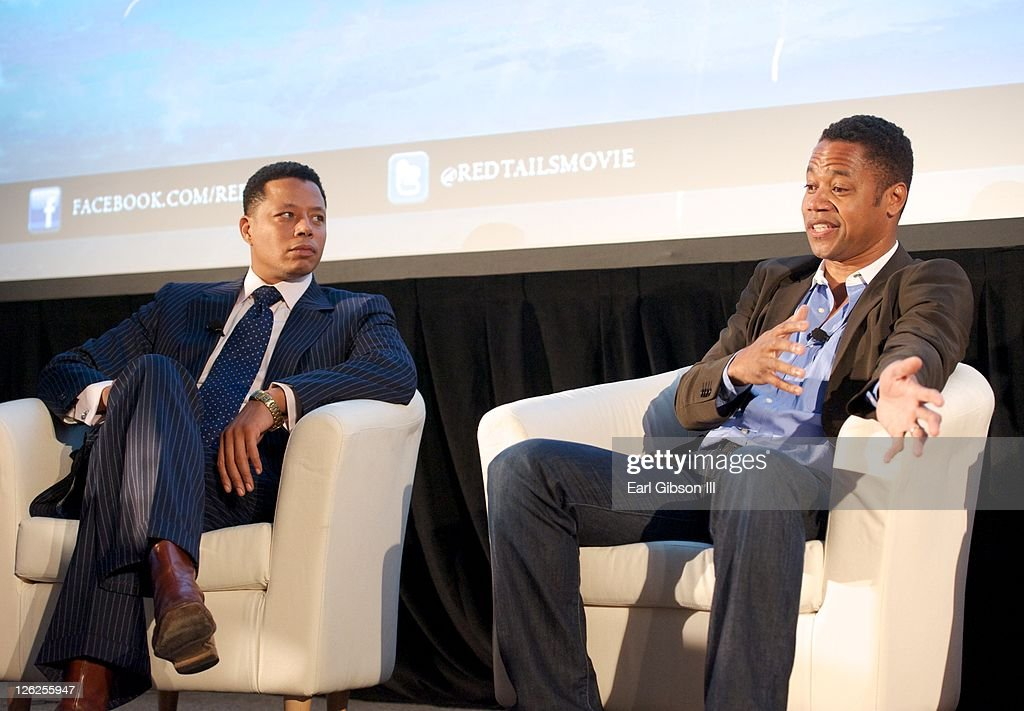 <a gi-track='captionPersonalityLinkClicked' href=/galleries/search?phrase=Terrence+Howard&family=editorial&specificpeople=215196 ng-click='$event.stopPropagation()'>Terrence Howard</a> and <a gi-track='captionPersonalityLinkClicked' href=/galleries/search?phrase=Cuba+Gooding+Jr.&family=editorial&specificpeople=208232 ng-click='$event.stopPropagation()'>Cuba Gooding Jr.</a> discuss their upcoming movie entitled Red Tail at the Congressional Black Caucus Foundation's 41st annual legislative conference on September 23, 2011 in Washington, DC.