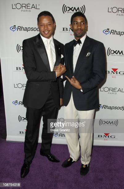Terrence Howard and Fonzworth Bentley during 2006 Clive Davis PreGRAMMY Awards Party Arrivals at Beverly Hilton in Beverly Hills California United...