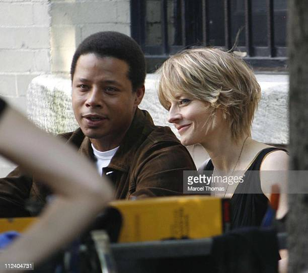 Terrence Howard and Jodie Foster during Jodie Foster and Terrence Howard on Set of the Still Photo Shoot for 'The Brave One' July 30 2006 in Chelsea...
