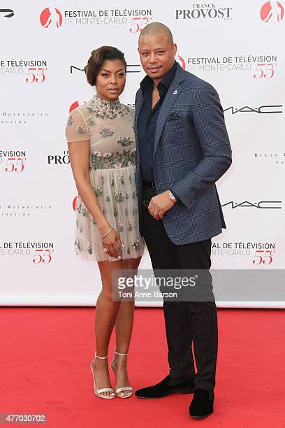 Terrence Howard and Taraji P Henson attend the 55th Monte Carlo TV Festival Opening Ceremony at the Grimaldi Forum on June 13 2015 in MonteCarlo...
