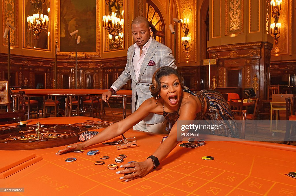 Terrence Howard and Taraji P.Henson form the 'Empire' TV Series attend a photo session at the Monaco casino on June 15, 2015 in Monte-Carlo, Monaco.