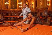 Terrence Howard and Taraji PHenson form the 'Empire' TV Series attend a photo session at the Monaco casino on June 15 2015 in MonteCarlo Monaco