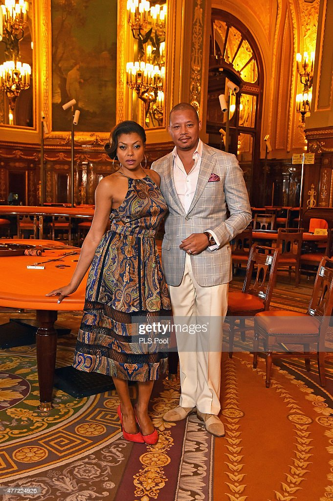 Terrence Howard and Taraji PHenson form the 'Empire' TV Series attend a photo session at the Monaco casino on June 15 2015 in MonteCarlo Monaco