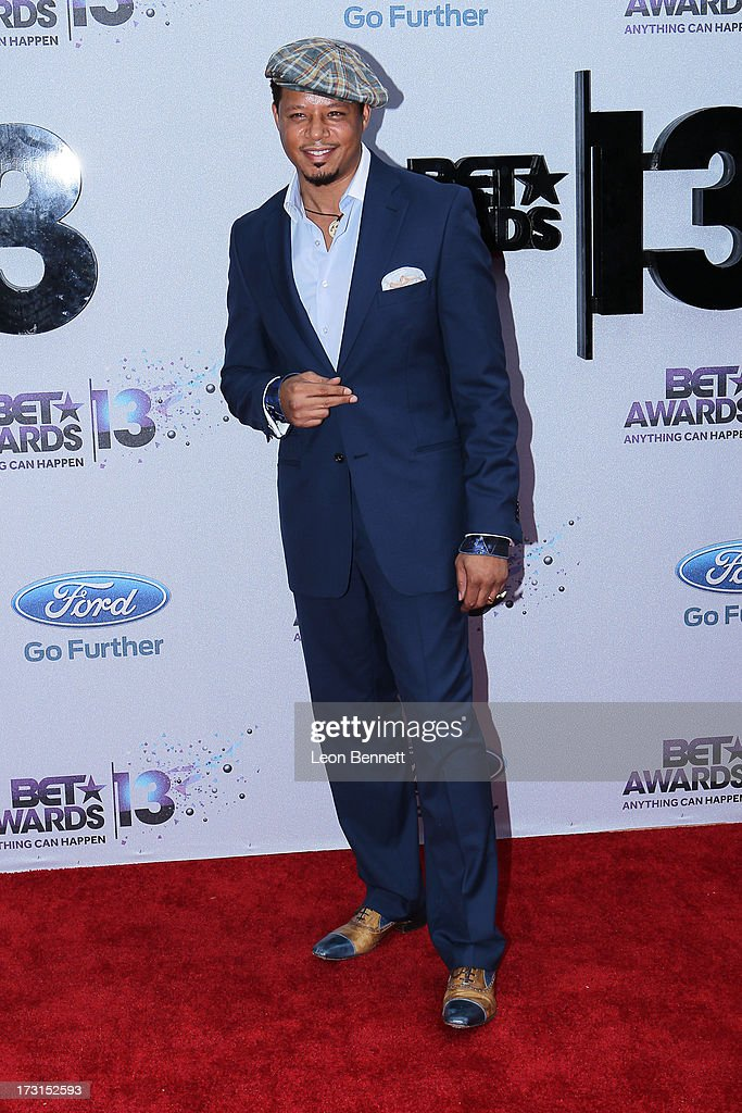 <a gi-track='captionPersonalityLinkClicked' href=/galleries/search?phrase=Terrence+Howard&family=editorial&specificpeople=215196 ng-click='$event.stopPropagation()'>Terrence Howard</a> arrives at the 2013 BET Awards Make A Wish Arrivals at Nokia Plaza L.A. LIVE on June 30, 2013 in Los Angeles, California.