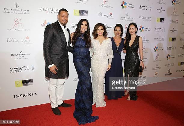 Terrence Howard Maria Bravo Eva Longoria Alina Peralta and Miranda Howard attend the Global Gift Gala during day four of the 12th annual Dubai...