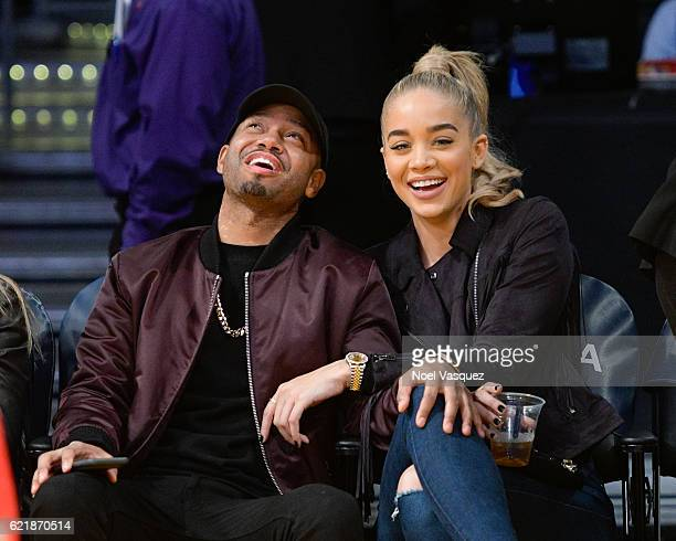 Terrence J and Jasmine Sanders attend a basketball game between the Dallas Mavericks and the Los Angeles Lakers at Staples Center on November 8 2016...