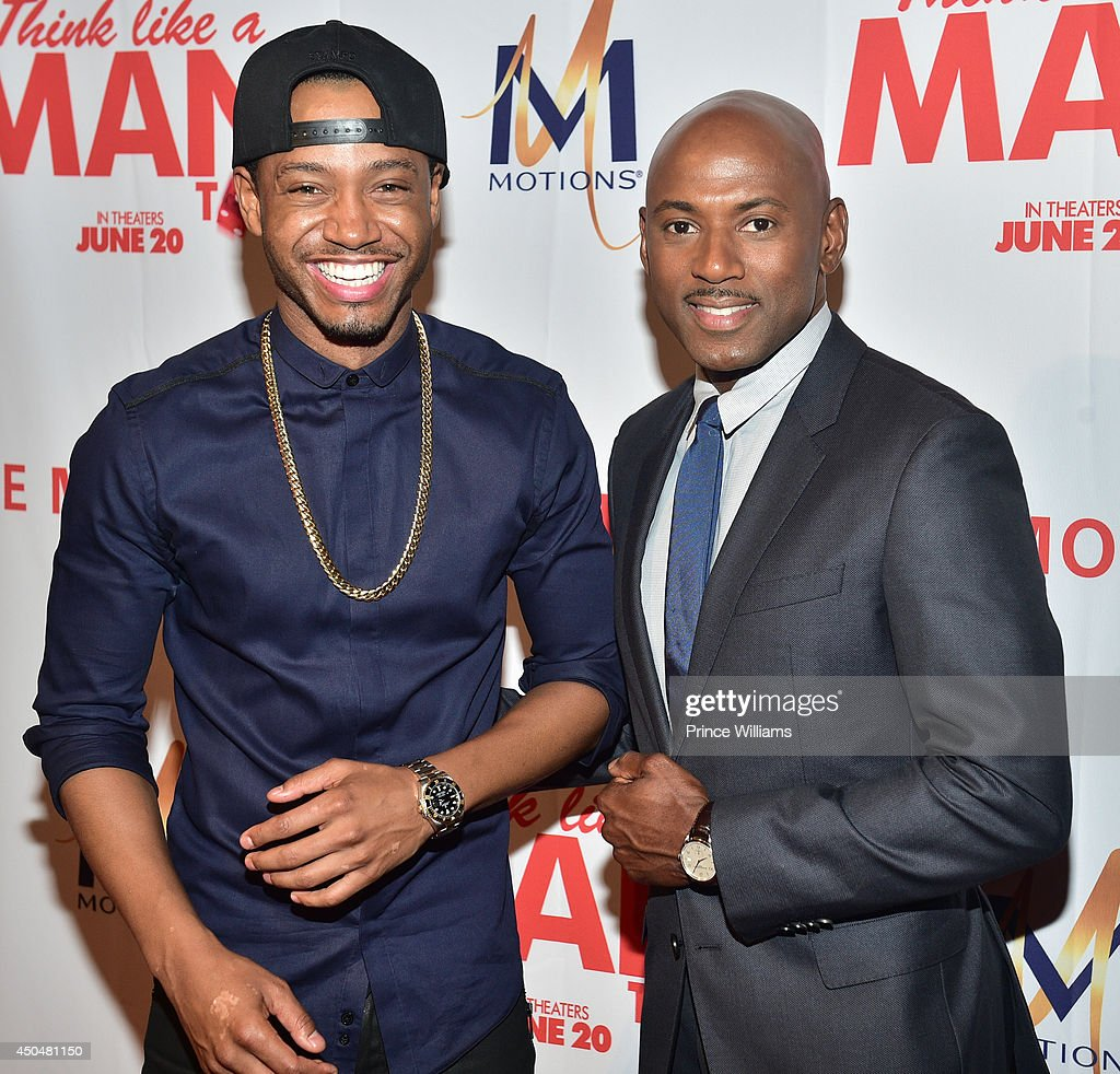 Terrence J and Romany Malco attend the 'Think Like A Man Too' premiere at Regal Cinemas Atlantic Station Stadium 16 on June 11, 2014 in Atlanta, Georgia.
