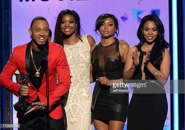 Terrence J Gabrielle Union Taraji P Henson and Regina Hall speak onstage during the 2013 BET Awards at Nokia Theatre LA Live on June 30 2013 in Los...