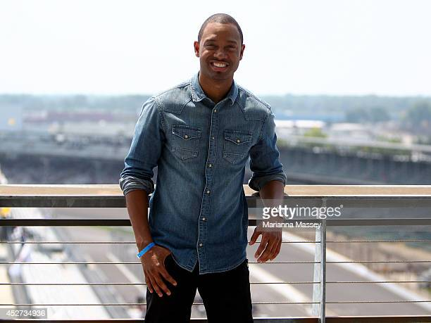 Terrence J poses at Indianapolis Motor Speedway John Wayne Walding received the naming rights to Sunday's NASCAR Sprint Cup Series race through Crown...