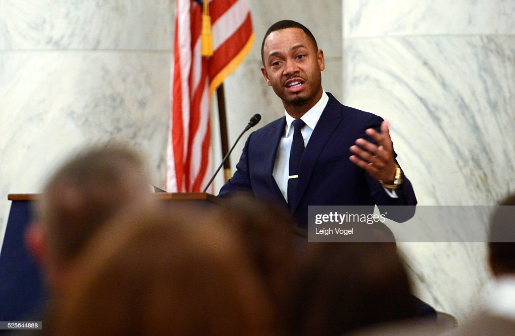 Terrence J speaks during #JusticReformNow Capitol Hill Advocacy Day at Russell Senate Office Building on April 28, 2016 in Washington, DC.