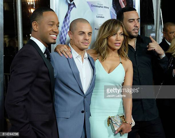 Terrence Jenkins Casper Smart Jennifer Lopez and French Montana attend the premiere of 'The Perfect Match' at ArcLight Hollywood on March 7 2016 in...