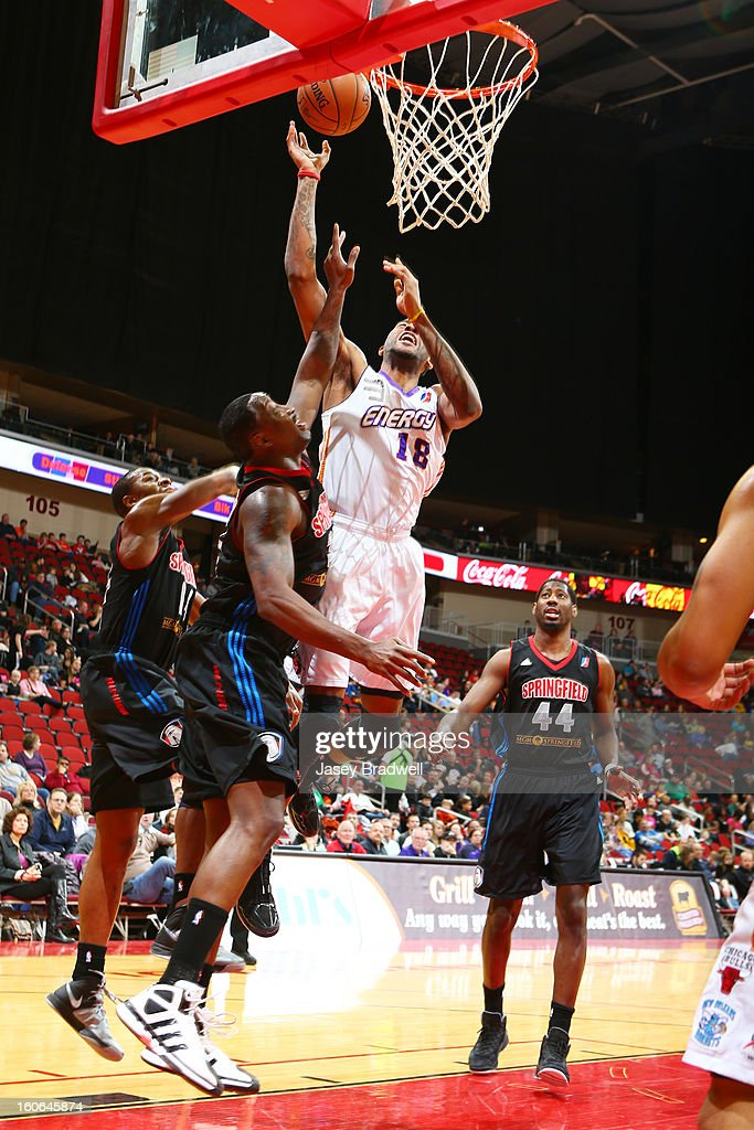 Terrence Jennings #18 of the Iowa Energy takes a layup against the Springfield Armor in an NBA D-League game on February 2, 2013 at the Wells Fargo Arena in Des Moines, Iowa.