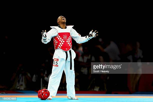 Terrence Jennings of the United States reacts to defeating Diogo Silva of Brazil during the Men's68kg Taekwondo bronze medal finals on Day 13 of the...