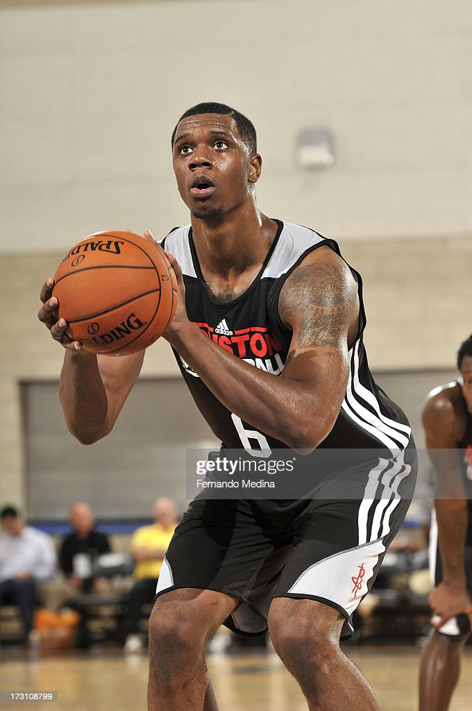 Terrence Jones #6 of the Houston Rockets aims during the game between the Houston Rockets and the Philadelphia 76ers during the 2013 Southwest Airlines Orlando Pro Summer League on July 7, 2013 at Amway Center in Orlando, Florida.