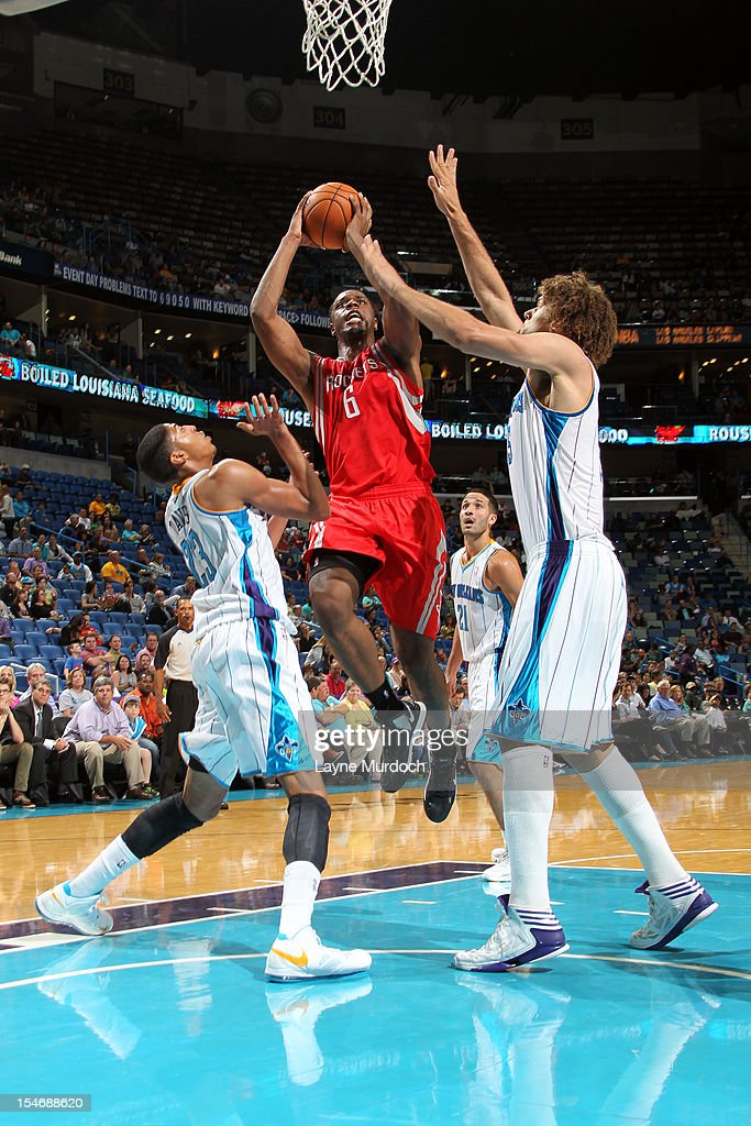 Terrence Jones #6 of the Houston Rockets drives to the basket against the New Orleans Hornets on October 24, 2012 at the New Orleans Arena in New Orleans, Louisiana.