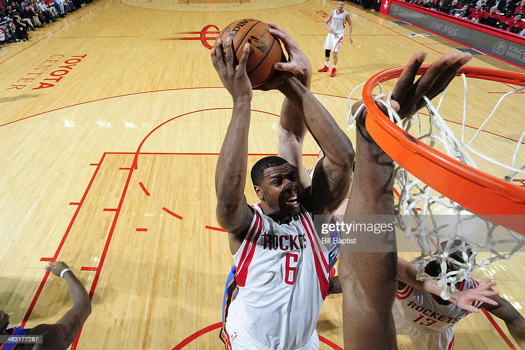 Terrence Jones #6 of the Houston Rockets drives to the basket against the Oklahoma City Thunder on January 16, 2014 at the Toyota Center in Houston, Texas.