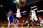 Terrence Jones of the Houston Rockets dunks against the Los Angeles Clippers in the first half during Game Seven of the Western Conference Semifinals...