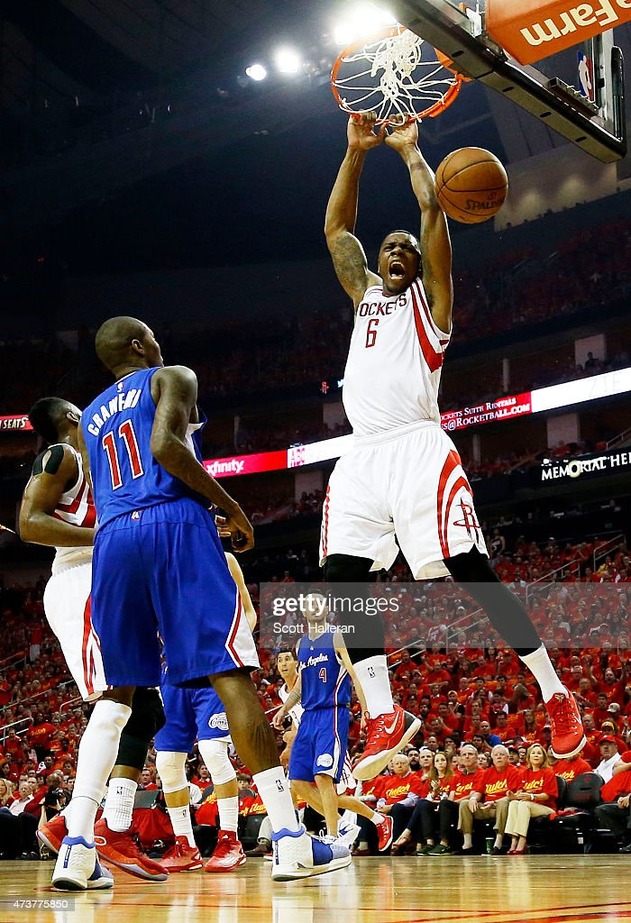 Terrence Jones #6 of the Houston Rockets dunks against the Los Angeles Clippers in the first half during Game Seven of the Western Conference Semifinals at the Toyota Center for the 2015 NBA Playoffs on May 17, 2015 in Houston, Texas.