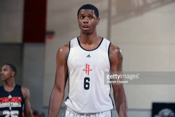 Terrence Jones of the Houston Rockets looks on during NBA Summer League on July 18 2012 at Cox Pavilion in Las Vegas Nevada NOTE TO USER User...