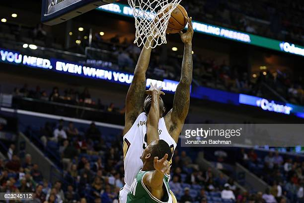 Terrence Jones of the New Orleans Pelicans shoots over Avery Bradley of the Boston Celtics during the second half of a game at the Smoothie King...
