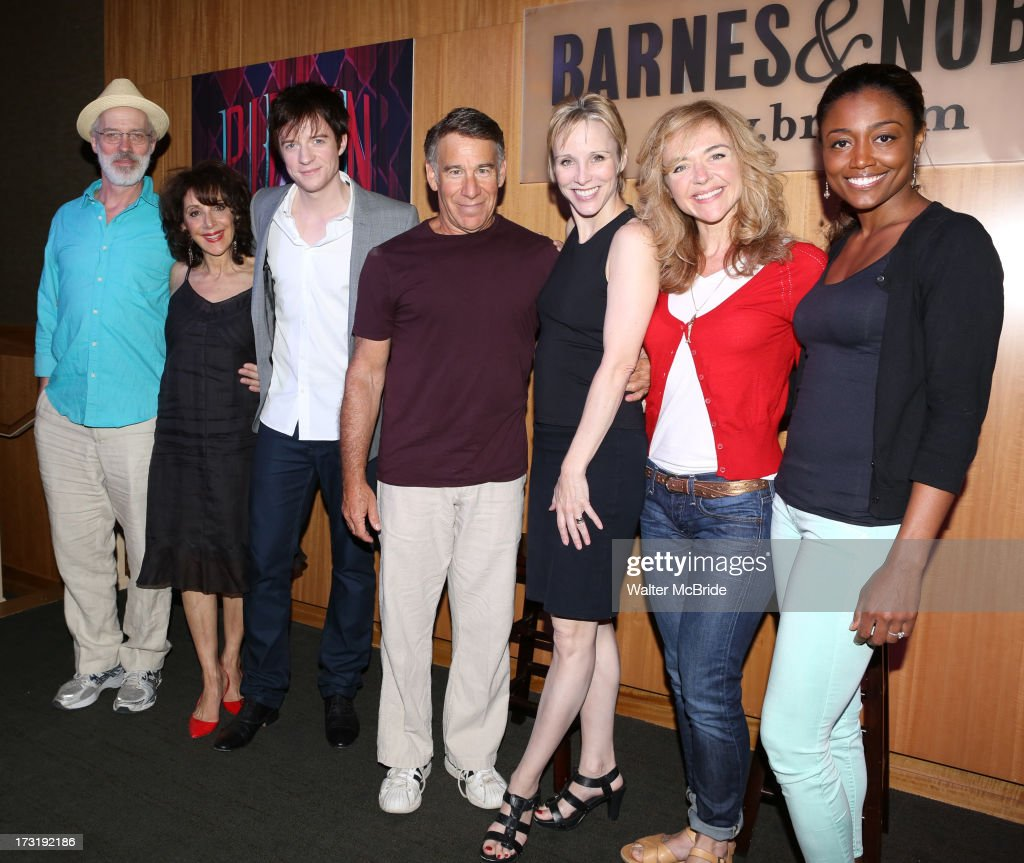 Terrence Mann, Andrea Martin, Matthew James Thomas, Composer Stephen Schwartz, Charlotte d'Amboise, Rachel Bay Jones and Patina Miller attend the Broadway cast of 'Pippin' performance and CD signing at Barnes & Noble, 86th & Lexington on July 9, 2013 in New York City.