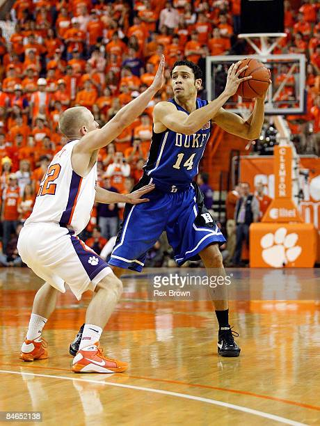 Terrence Oglesby of the Clemson Tigers guards David McClure of the Duke Blue Devils during the first half at Littlejohn Coliseum on February 4 2009...